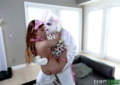 Naughty babe in bunny outfit Summer Brooks goes wild on a hard penis