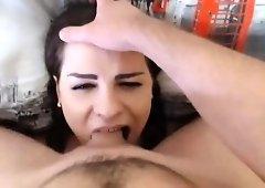 Deep throat cock swallowing