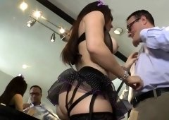 Busty dominatrix fingering her slaves ass