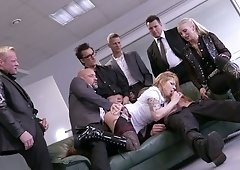Office slut Mia De Berg serves several co-workers at the same time