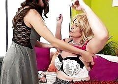 Busty granny orally pleasures young dyke