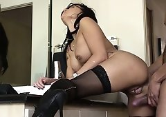 Eva Angelina bends over the counter taking his pounding cock