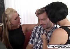 Stunning cougar bitches having fun with one massive cock