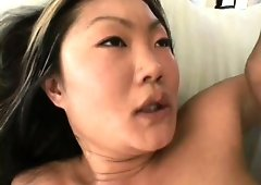 Asian cutie with a spicy ass Lucy Lee has a stud roughly fucking her sweet pussy