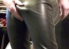 Shiny leather tease