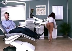 Dentist Monique Alexander gives her patient an oral exam & gets fucked