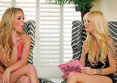 Kinky interview with two ladies who are ready to show their tits