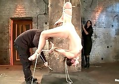 Tiny Flexible Brunette Suffers A Category 5 Suspension While Being Made To Cum Over And Over - HogTied