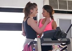Alisha Rage & Alexi Star eat & rubb each other's pussies on the gym treadmill