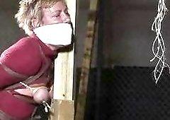 Hogtied bondage slut Alice spanked hard by master BDSM porn