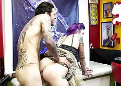 Gorgeous tattooed girl with dyed hair has wild hardcore sex
