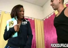 Cute chick with tiny nipples Carmella Santiago gets her clit polished