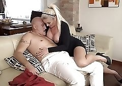 Hot MILF suck and fuck lucky old man