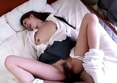 Nasty Asian chick Yuu Sakura shows her hairy creampied pussy