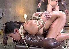 Ebony steamy drooling in brutal bondage