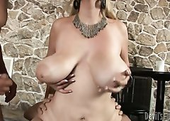 Lustful mommy with big boobs Athena Pleasures nailed in MMF