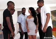 Several black studs fuck mega busty harlot Raven Hart and fill her mouth with sperm