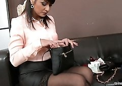 Fully clothed MILF Tera Joy lets dude pee onto her face