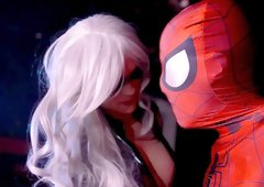 Spider Man Cosplay action with busty blonde Mila Milan