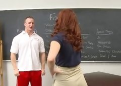 Redhead coed is trying to catch some sperm of her teacher
