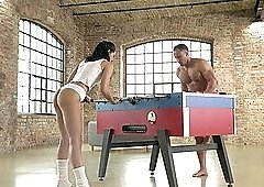 Table soccer game with Anainda turns into hot one on one action