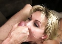 Marvelous buxom MILFie cowgirl Ryan Conner wanna tease man with rimjob