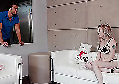 Sweet blonde Lexi Lore doesn't have time to take of her high heels before sex