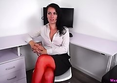 Raven haired office slut in red stuff Jasmine Lau uses glass dildo for twat