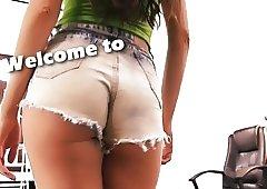 Perfect Ass and Boobs Brunette Teen Tight Denim Shorts