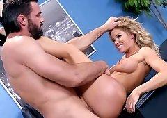 Jessa Rhodes deepthroating & then titty & pussy fucking her boss