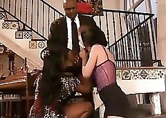 Black couple brings in a white milf to fuck