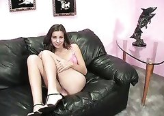 Dark haired spoiled GF in pink lingerie Kelly Kline gives solid BJ to her step daddy on sofa