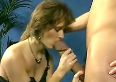 Big dick sucking by 3 tits girl
