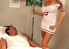 Sweet blonde hottie makes his stiff dick disappear in her wet pussy