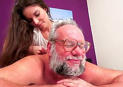 Massage and crazy ass fingering action with grandpa