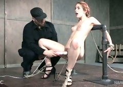 Redhead gorgeous lean white girl bound and pulled with ropes
