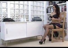 Hana Melonova is playing with her big boobs