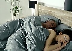 Young babe gets cold in bed so she asks her old boyfriend to warm her up