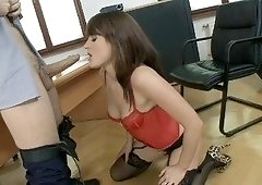 Brunette with bangs gets her smooth pussy banged hard on a desk