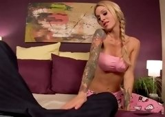 Good-looking Sarah Jessie giving a hot handjob