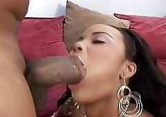 Ebony hottie deep fucked by a fat cock