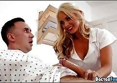 Blonde Nurse helps with Boner
