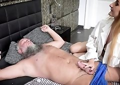 Teen cutie pie enjoys heavy sex with old bearded man