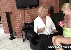 Dildo play with her BF's mom