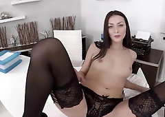 Pretty brunette masturbates while waiting for her boss