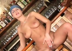 Lovely nympho Veronica Vanoza fucks herself raw on top of a bar