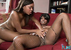 After a day of hard work this ebony chick wants to have a lesbian sex