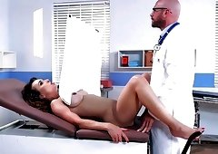 Doctor on the couch pussy licked and fucked notably very pretty babe