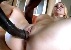 A country girl is getting penetrated by a massive male meat stick