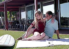 Shy blue eyed blonde teen Chloe Foster pounded missionary outdoors